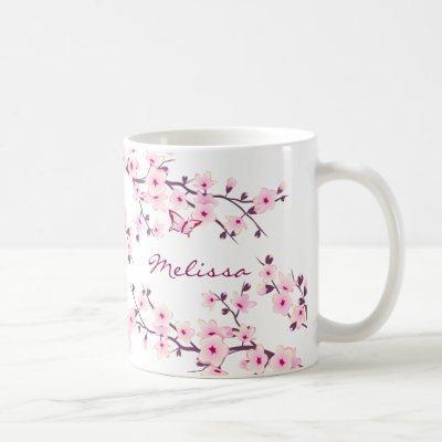 Floral Cherry Blossom Your Name Monogram Mug