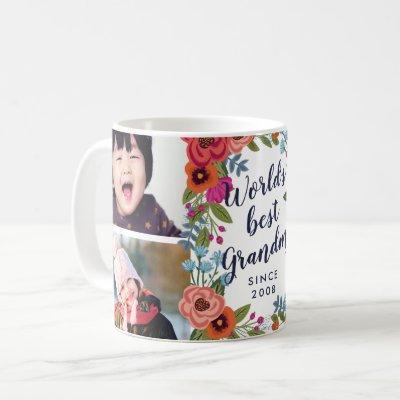 Floral Frame - World's Best Grandma Photo Collage Coffee Mug