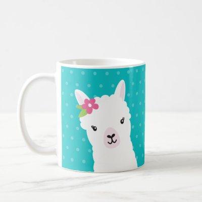 Floral Llama Alpaca Teal Personalized Coffee Mug