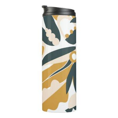 Floral Pattern With Leaves and Flowers Thermal Tumbler