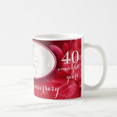 Floral ruby anniversary custom photo mug