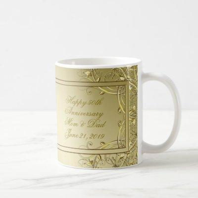 Flourish Gold 50th Wedding Anniversary Coffee Mug