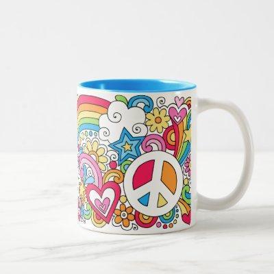Flower Power Peace Love & Happiness Rainbow Mug ♥