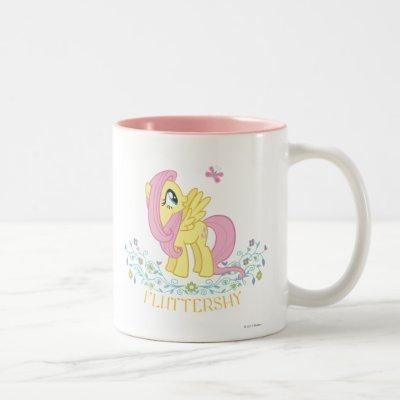 Fluttershy  with Flowers Two-Tone Coffee Mug