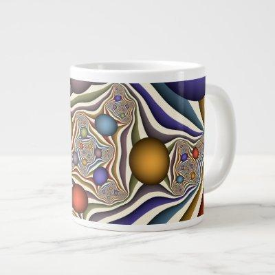 Flying Up Colorful Modern Abstract Fractal Art Giant Coffee Mug