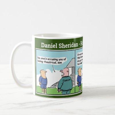 Football Coach and Player Cartoon Strip Coffee Mug
