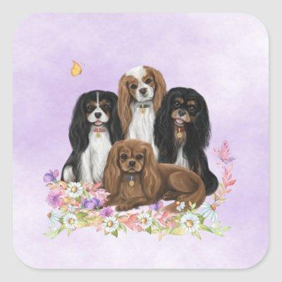 Four Cavalier King Charles Spaniels in Flowers  Square Sticker