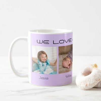 Four photos editable text personalized lilac coffee mug