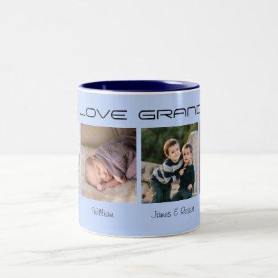 Four photos editable text personalized Two-Tone coffee mug