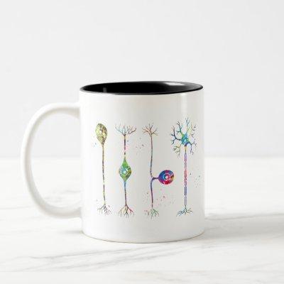 Four types of neurons Two-Tone coffee mug