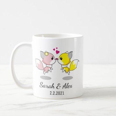 Foxes Mug, Personalized Coffee Mug for couple,