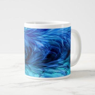 Fractal Marble Blue Large Coffee Mug