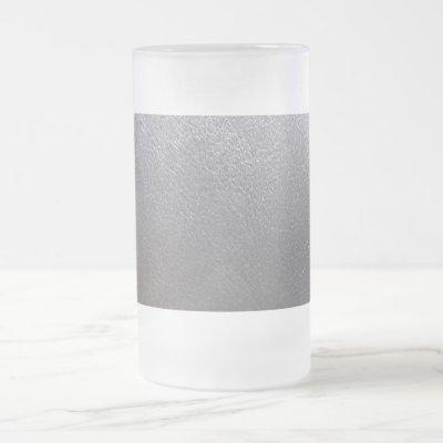 Frosted Glass Artist created Silver Leather Look Frosted Glass Beer Mug