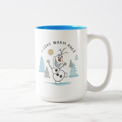 "Frozen 2   Olaf ""I Love Warm Hugs"" Sketch Two-Tone Coffee Mug"