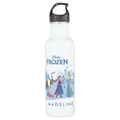 Frozen   Sven, Anna, Elsa & Olaf Blue Pastels Stainless Steel Water Bottle
