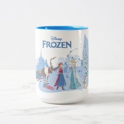 Frozen   Sven, Anna, Elsa & Olaf Blue Pastels Two-Tone Coffee Mug