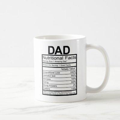 Fun Dad Nutritional Label Coffee Mug