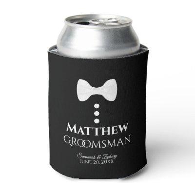 Fun White Tie Groomsman Wedding Foam Can Cooler