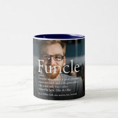 Funcle Uncle Definition Fun Modern Photo Two-Tone Coffee Mug