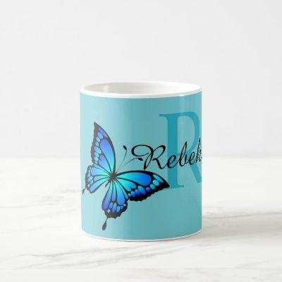 Funky Chic Butterfly Monogram Coffee Mug