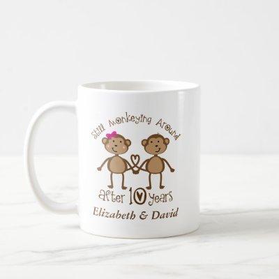 Funny 10th Wedding Anniversary His Hers Mugs
