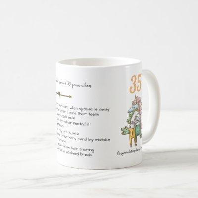 FUNNY 35th Wedding Anniversary Unicorns Customized Coffee Mug