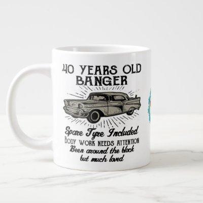 Funny 40th Birthday Retro Car Banger Add Name Date Giant Coffee Mug