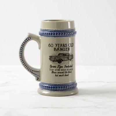 Funny 60th Birthday Retro Car Banger Add Name Date Beer Stein