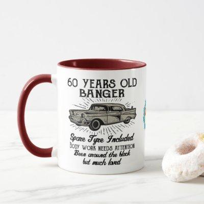 Funny 60th Birthday Retro Car Banger Add Name Date Mug