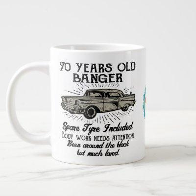 Funny 70th Birthday Retro Car Banger Add Name Date Giant Coffee Mug
