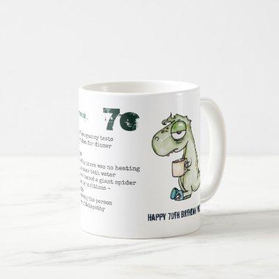 Funny 70th Personalized 'When I was Your Age' Dino Coffee Mug