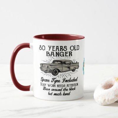 Funny 80th Birthday Retro Car Banger Add Name Date Mug