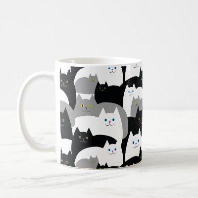 Funny Black Gray and White Kitty Cat Pattern Coffee Mug