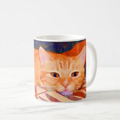 Funny Cute Bright Orange Tabby Cat Coffee Mug