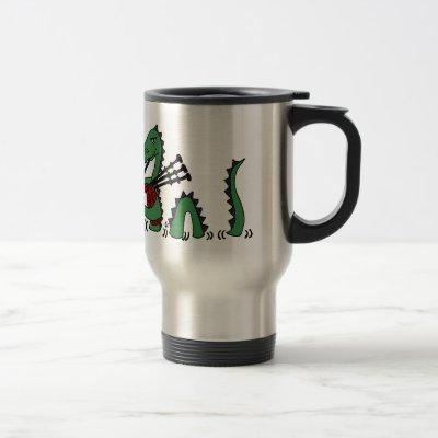 Funny Loch Ness Monster Playing Bagpipes Travel Mug