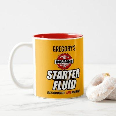 Funny Personalized Starter Fluid Two-Tone Coffee Mug