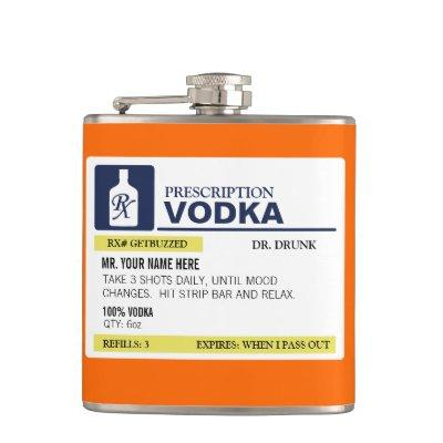 Funny Prescription Vodka Flask