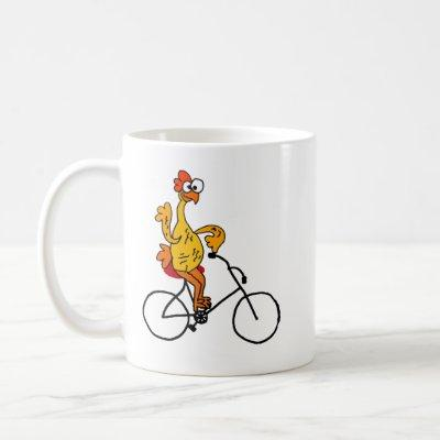 Funny Rubber Chicken Riding Bicycle Coffee Mug