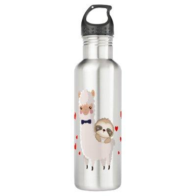 Funny Sloth Riding Llama Shirt funny Alpaca Hearts Stainless Steel Water Bottle