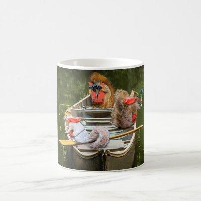 Funny Squirrels In A Canoe With Lifejackets Coffee Mug