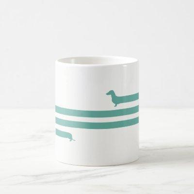 Funny turquoise dachshund mug blue