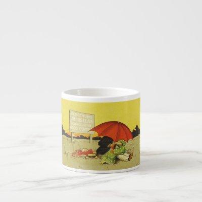 Funny vintage couple under Umbrella Beach Art Espresso Cup