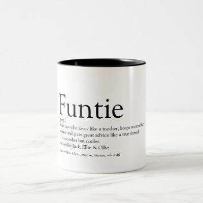 Funtie, Aunt, Auntie Definition Modern Fun Two-Tone Coffee Mug