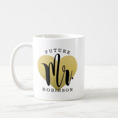 Future Mr. Gold Heart Monogram Wedding Coffee Mug