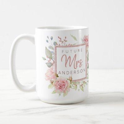 Future Mrs. Custom Blush Pink Watercolor Roses Coffee Mug