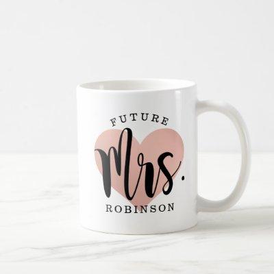 Future Mrs. Rose Gold Heart Monogram Wedding Coffee Mug