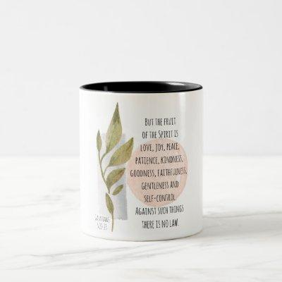Galatians 5:22-23 Fruit of the Spirit is Love Joy Two-Tone Coffee Mug