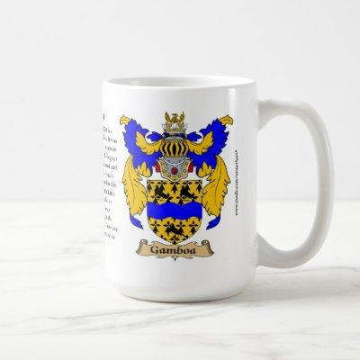 Gamboa name, the Origin, the Meaning and the Crest Coffee Mug