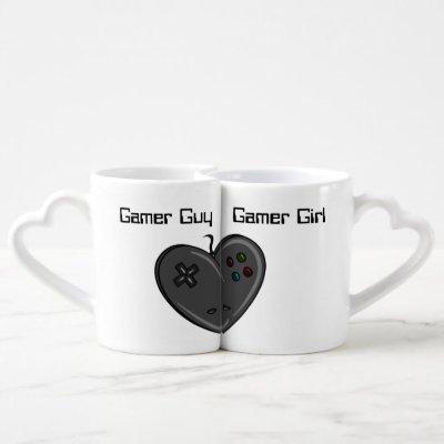 Gamer Girl & Guy Heart Shaped Controller Coffee Mug Set