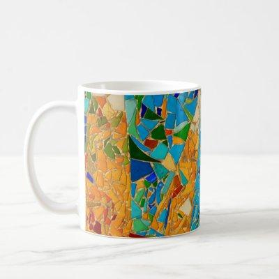 Gaudi mosaic turquoise aqua orange colorful happy coffee mug